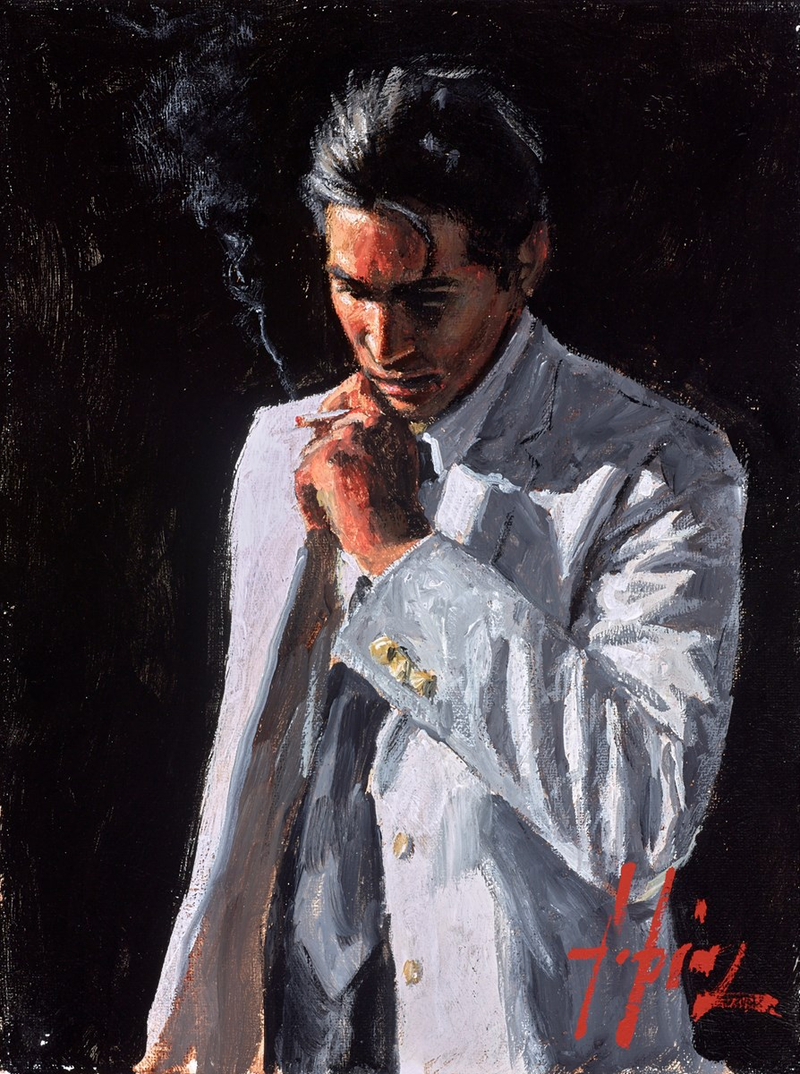 Study for Marcus III (White Suit) by fabian perez -  sized 9x12 inches. Available from Whitewall Galleries